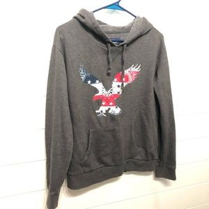 American Eagle pullover hoodie with eagle design.
